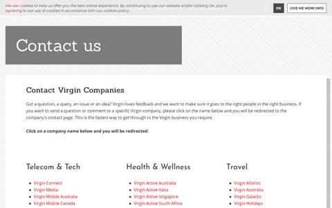 Screenshot of Contact Page virgin.com - Contact us | Virgin - captured Sept. 25, 2019