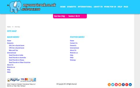 Screenshot of Site Map Page mycourieruk.co.uk - UK Delivery Service | Contact Us | Courier Quote UK - captured Oct. 9, 2014