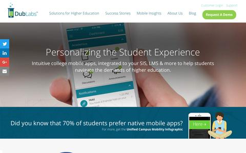 Screenshot of Home Page dublabs.com - College mobile apps that personalize the student experience | DubLabs - captured Oct. 13, 2017