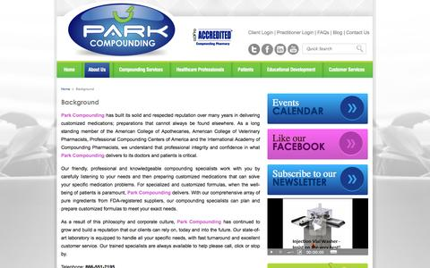 Screenshot of About Page parkrx.com - Park Compounding - E-Commerce - Irvine, California - Background - captured Oct. 8, 2014