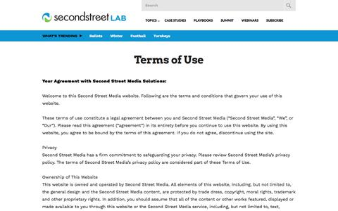 Screenshot of Terms Page secondstreet.com - Terms of Use | Second Street Lab - captured Sept. 25, 2018