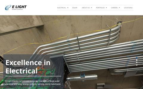 Screenshot of Home Page ewindsolar.com - E Light Electric   Excellence in Electrical   Denver, CO - captured Oct. 10, 2015