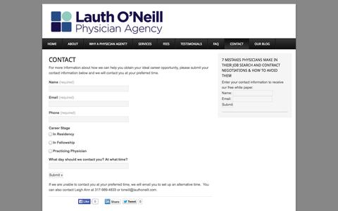 Screenshot of Contact Page lauthoneill.com - Physician Agency & Contract Review Attorney - captured Oct. 2, 2014