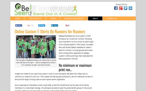 Screenshot of About Page beseenfanwear.com - Online Custom T-Shirts for Runners and Fans from Be Seen Fan Wear - captured June 1, 2017