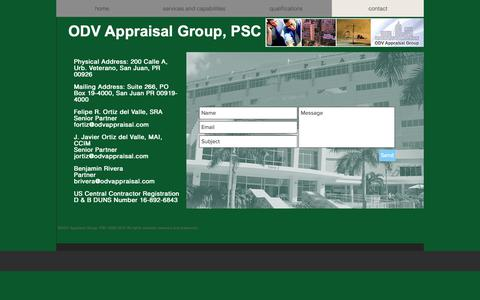 Screenshot of Contact Page odvappraisal.com - Appraisal | Puerto Rico | ODV Appraisal Group, PSC | contact - captured Oct. 19, 2018