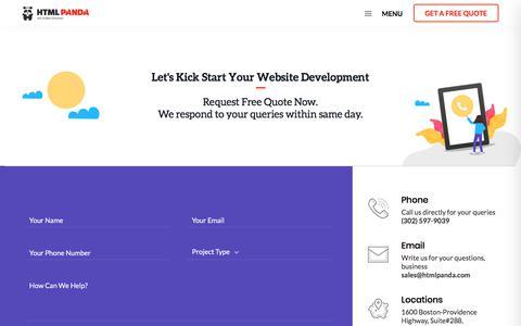 Screenshot of Contact Page htmlpanda.com - Contact HTMLPanda for Web Development Services - captured Sept. 14, 2019