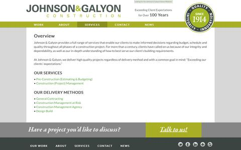 Screenshot of Services Page johnsongalyon.com - Services | Johnson & Galyon Construction - captured Oct. 14, 2018