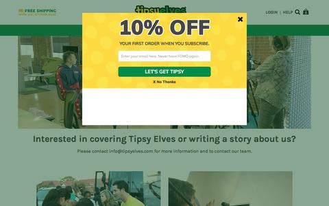 Screenshot of Press Page tipsyelves.com - Interested in covering Tipsy Elves or writing a story about us? - captured Sept. 13, 2018