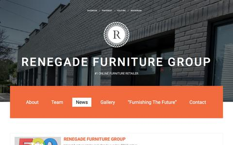 Screenshot of Press Page renegadefurniture.com - News – Renegade Furniture Group - captured Aug. 2, 2018