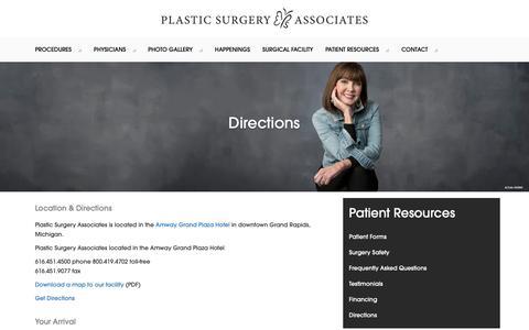 Screenshot of Maps & Directions Page psa-gr.com - Directions   Plastic Surgery Associates - captured Sept. 28, 2018