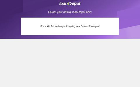 Screenshot of Landing Page loandepot.com - Select your official loanDepot shirt - captured April 14, 2018