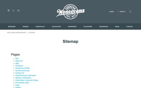 Screenshot of Site Map Page monograms.co.nz - Sitemap - Southern Monograms - captured Oct. 23, 2017