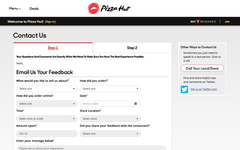 Screenshot of Contact Page pizzahut.com - Pizza Hut: Pizza Delivery | Pizza Carryout | Coupons | Wings & More - captured July 28, 2018