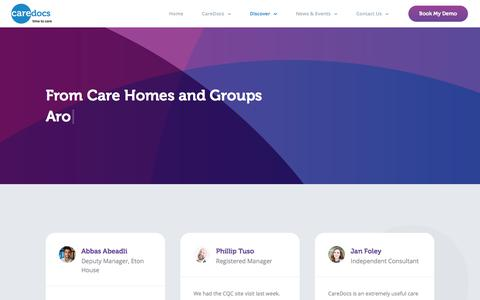 Screenshot of Testimonials Page caredocs.co.uk - Testimonials | Reputable Care Home Management Software | CareDocs - captured July 16, 2018