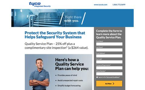 Screenshot of Landing Page tycois.com - Tyco Integrated Security | Quality Service Plan - captured Sept. 28, 2017