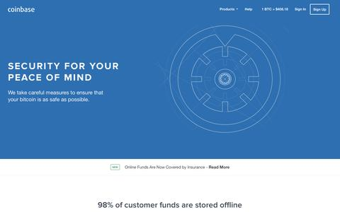 Screenshot of coinbase.com - Secure Bitcoin Storage - Coinbase - captured March 19, 2016