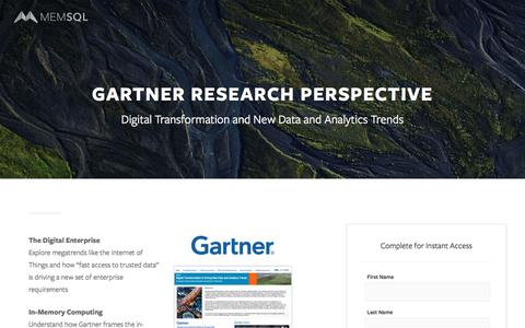 Screenshot of Landing Page memsql.com - Gartner Analysis on New Big Data and Analytics Trends - captured June 16, 2016