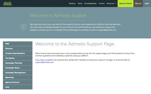 Screenshot of Support Page admedo.com - struto - admedo - support - captured Oct. 1, 2015