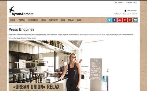 Screenshot of Press Page byronandbronte.com - Press Enquiries - captured Oct. 5, 2014