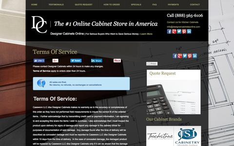 Screenshot of Terms Page designercabinetsonline.com - Terms of Service - Designer Cabinets OnlineDesigner Cabinets Online - captured Oct. 12, 2017
