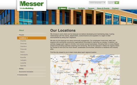 Screenshot of Locations Page messer.com - Our Locations | Messer Construction - captured Oct. 27, 2014