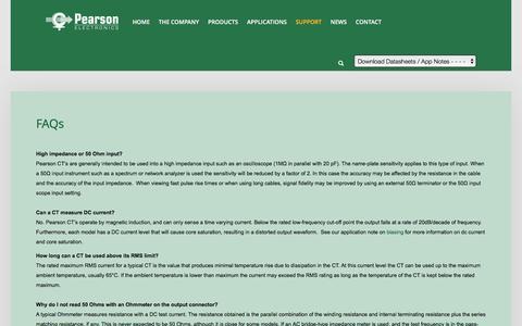 Screenshot of FAQ Page pearsonelectronics.com - FAQs - captured Oct. 29, 2016