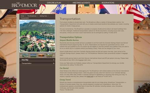 Screenshot of Maps & Directions Page broadmoor.com - Colorado Luxury Hotels | The Broadmoor | 5 Star Luxury Resorts - captured Sept. 19, 2014