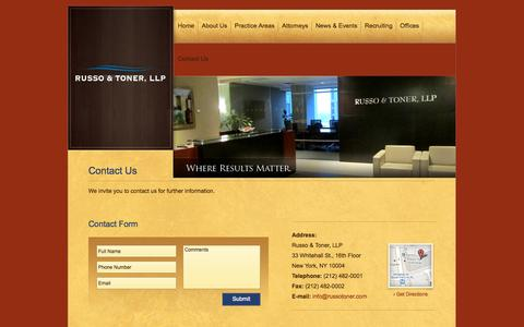 Screenshot of Contact Page russotoner.com - Contact New York Litigation Lawyers - NYC Construction Lawyer - Russo & Toner LLP - captured Oct. 7, 2014