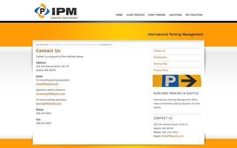 Screenshot of Contact Page ipmseattle.com - International Parking Management Contact Us - captured Oct. 6, 2014