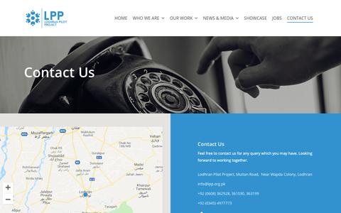 Screenshot of Contact Page lpp.org.pk - Contact Us - Lodhran Pilot Project | LPP - captured Nov. 11, 2018