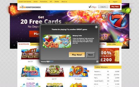 Screenshot of Home Page primescratchcards.com - Online Scratch Cards - 20 FREE Games| PrimeScratchCards - captured Sept. 24, 2014