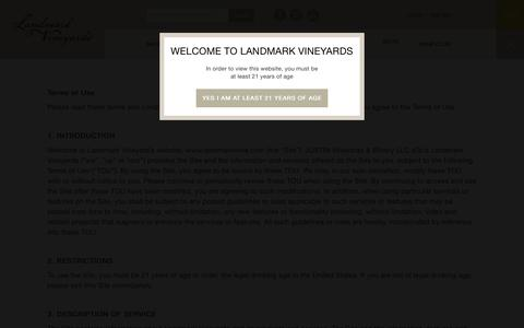 Screenshot of Terms Page landmarkwine.com - Terms and Conditions - Landmark Vineyards - captured July 11, 2017