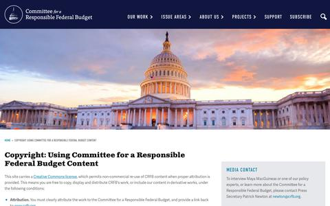 Screenshot of Privacy Page crfb.org - Copyright: Using Committee for a Responsible Federal Budget Content | Committee for a Responsible Federal Budget - captured Aug. 15, 2017