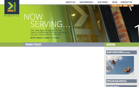 Screenshot of Privacy Page kineticmc.com - Privacy Policy - Kinetic Marketing & Creative - captured Oct. 8, 2014