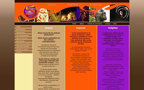 Screenshot of Home Page sundancer.co.za - Sundancer Promotions, Inspire, Empower, Enlighten - captured Oct. 8, 2014