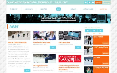 Screenshot of Press Page csm-mcs.com - News | Canadian Ski Marathon - captured Oct. 20, 2016