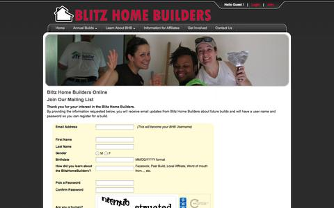 Screenshot of Signup Page blitzhomebuilders.org - Blitz Home Builders Online - captured Sept. 30, 2014