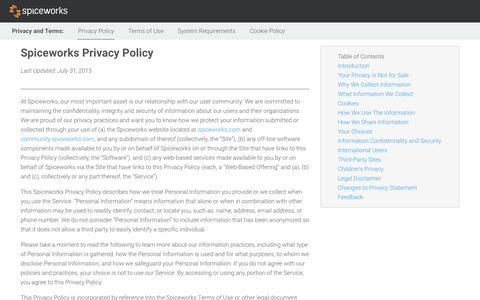 Screenshot of Privacy Page spiceworks.com - Spiceworks Privacy Policy - captured Dec. 21, 2017