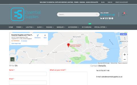 Screenshot of Contact Page essentialsupplies.co.uk - Contact Us - captured Nov. 5, 2018