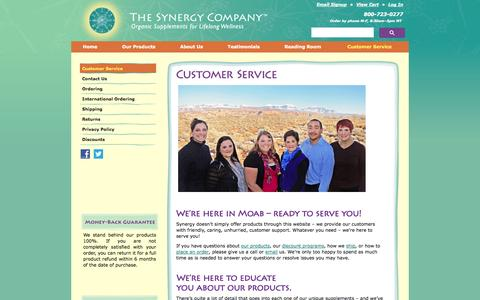 Screenshot of Support Page thesynergycompany.com - Synergy Customer Service - captured Sept. 18, 2014