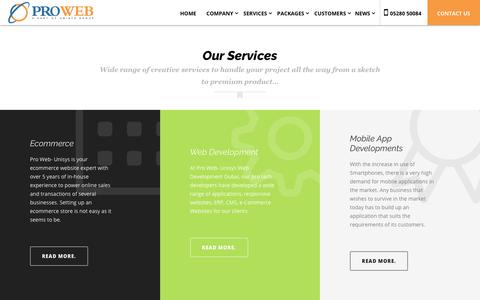 Screenshot of Services Page prowebtechnos.com - Web design and development in Dubai | digital marketing services - Pro web technos - captured Nov. 2, 2018