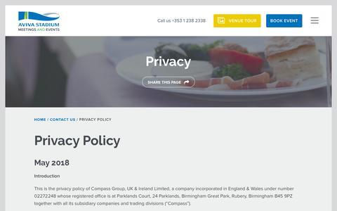 Screenshot of Privacy Page avivastadiumevents.ie - Privacy Policy | Aviva Stadium - A Unique and Unusual Venue for all Types of Events - captured Oct. 4, 2018