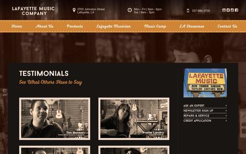 Screenshot of Testimonials Page lafmusic.com - Testimonials | Lafayette Music Company - captured Sept. 26, 2018
