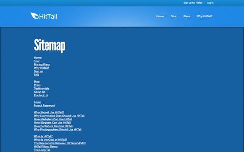Screenshot of Site Map Page hittail.com - HitTail Keyword Tool Sitemap - captured Nov. 20, 2015