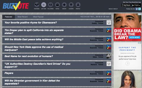 Screenshot of FAQ Page buzzvote.com - Featured Questions - BuzzVote - Social Polling, Viral Voting - captured Sept. 13, 2014