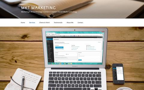 Screenshot of Services Page wordpress.com - Services – mkt marketing - captured Nov. 5, 2018