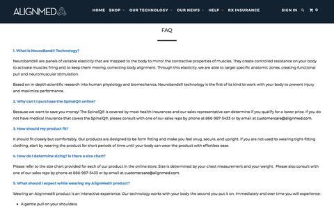 Screenshot of FAQ Page alignmed.com - FAQ - Alignmed - captured May 29, 2017