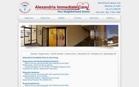 Screenshot of Jobs Page alexandriaurgentcare.com - Careers | Urgent Care | Family Practice | Primary Care | Alexandria VA | Arlington VA | Washington DC - captured Nov. 2, 2014
