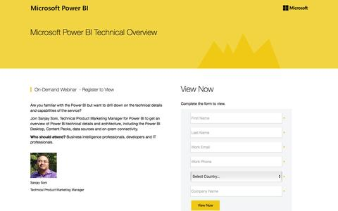 Screenshot of Landing Page microsoft.com - Microsoft Power BI Preview Technical Overview - captured May 10, 2016