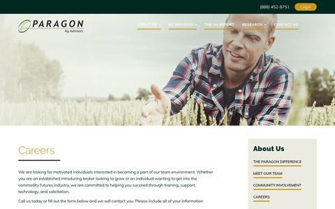 Screenshot of Jobs Page myagadvisor.com - Careers - Paragon Ag Advisory - captured July 14, 2017